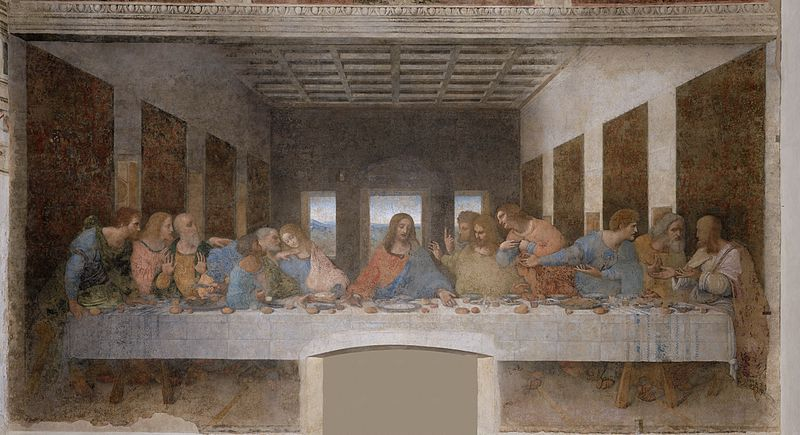 لوحة  العشاء الأخير للفنان الإيطالي ليوناردو دا فينشي ، 1498 م