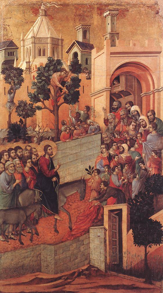 أحد الشعانين  او عندما خرج الناس لاستقبال المسيح بالسعف والزيتون على ابواب القدس، رسم على خشب  للايطالي دودشيو دي بوينينسينيا 1308ـ 1311